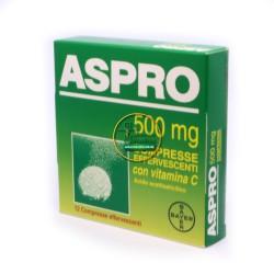 Aspro C 500mg Analgesico Ed Antidolorifico 12 Compresse Effervescenti Con Vitamina C